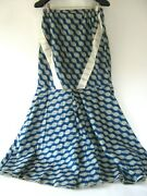 Handmade African Print Long Skirt Maxi Cotton Flared Blue And Cream Size S/m