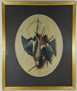 Antique 1876 Oil Painting On Board Michelangelo Meucci 1840 - 1890 Game Birds