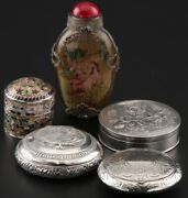 Sterling Silver Compacts, Trinket Boxes And Glass Snuff Bottle Vintage Antique