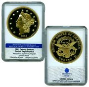 1861 Paquet Gold Double Eagle Coin Proof Lucky Money Value 99.95