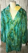 Womens Bob Mackie Wearable Art Xl Jacket Green Blue Embroidered Button Lined Nwt