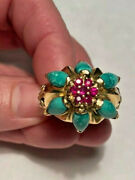 Huge Art Deco 14k Yellow Gold Ruby And Turquoise Fleur De Lis Statement Ring