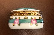 Limoges Marque Deposee Hand Painted Round Oval Green Band Trinket Box France