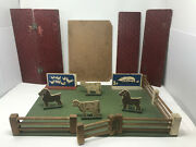 Antique Wooden Farm Pasture Toy - Fence Gate Animals And Barn Roof Pieces