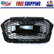 For Audi A3 S3 2017-2019 Rs3 Style Grille Front Hood Henycomb Bumper Grill Black