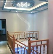 Chandelier Crystal Lighting Hanging Loft Double Spiral For Stair Staircase Light