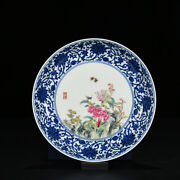 7.5 Old Chinese Antique Porcelain Qianlong Mark Blue White Peony Pattern Plates