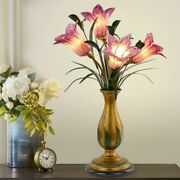 Lily Flower Table Lamps Decor Incandescent Bulb Golden G4 Base Clear Glass Shade
