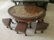 Vintage Carved Mahogany Tea Table W/six Nesting Stools And Glass Top. Jrep159