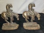 Antique Bookends Metal Cowboy/horse End Of The Trail