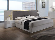Contemporary Upholster Grey Polyster Blend Headboard Led Light Cal King Size Bed