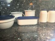 Vintage Tupperware Off White And Blue Set Butter Dish Salt And Pepper Creamer And Mo