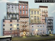O Scale Scratch Built Up 3d Collage -8 Apartment Building Flats Led Backdrop Mth