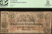 1861 5 Confederate States Note Civil War Currency Old Paper Money T31 Pcgs