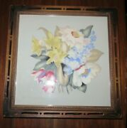 Vintage Wooden Box With Picture Of Flowers In Frame Hinged Lid Behind Glass. 15