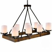 Wooden Antique Pendant Lights Classical Rectangular And Round Shaped Candlestick