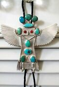 Navajo Sterling And Turquoise Dead Pawn Kachina Bolo