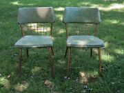 2 Howell Modern Metal Furniture Chairs.1950s.green Swirly Pattern. Mcm. Antique.