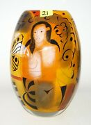 2000 French Heavy Crystal Vase W Butterfly And Female Nude By Ada Loumani Ish21