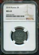 2018 Russia - Two Russian Roubles - 2r - Ngc Ms63