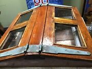 Antique Salvaged Sail Boat Butterfly Teakwood Glass Deck Hatch Cover Original