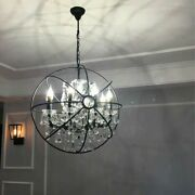 Vintage Light Pendant Cage Crystal Luminous Candle Stick Indoor Led Hanging Lamp