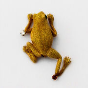 Textured Frog Brooch Gemstone Accents 18 K Yellow Gold