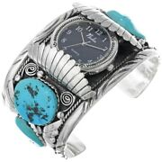 Mens Turquoise Watch Bracelet Sterling Silver Cuff Sz7.25 Vintage 70s Old Pawn