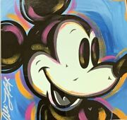 Mickey Mouse Framed Original Mixed Media Painting By Artist Allison Lefcort