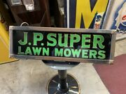 1920and039s J.p. Super Lawn Mower Reverse Glass Advertising Sign Watch Video