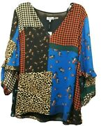 Nwt Woman Plus Calvin Klein Patchwork V Neck Top Size 2x Multi Color Lined 89