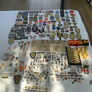 Vintage Bulk Lot Of Assorted Military Patches Emblems Pins Metal Buttonsandnbsp