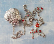 Unique Purse Locket With Tiny Rosary Necklaceantique Silver Finishitaly