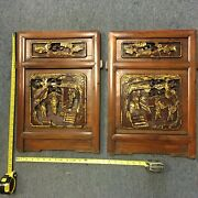 Chinese Antique Hand Carved Wood Panels Pair