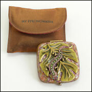 Rdc10960 Authentic Jay Strongwater Salamander Enamel And Crystal Compact Mirror
