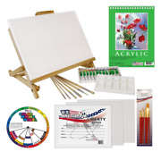 Artist Canvas Art Painting Set Supply Acrylic Tube Brushes Table Easel Craft Kit