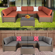 7pcs Patio Rattan Wicker Sectional Sofa Cushioned Couch With Tea Table Outdoor