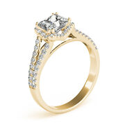 2.20 Ct Square Moissanite Forever One And Diamond Halo Engagement Ring 84l632
