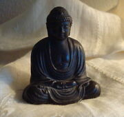Antique Bronze Buddha Signed -- Small Beautiful 1920s - Vintage Japan Statue