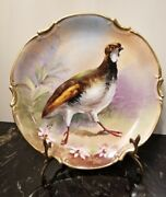 Antique Limoges Old Abbey Hand Painted Game Bird Plate Signed Lug 10 France