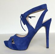 Guess Womens Strappy Sandals With 5 Inch Stiletto Heels Us Size 7 Blue Suede