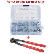 40pcs 5-15mm Double Ear Pinch Type Crimp Hose Clamps With Clamp Pliers Universal
