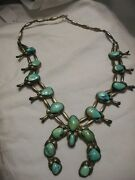 Vintage 1950s Squash Blossom Sterling Silver Necklace Turquoise Stones