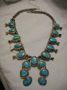 Vintage 1950s Beaded Squash Blossom Sterling Silver Necklace Turquoise Stones