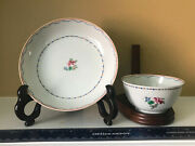 Antique Export Chinese Hand Made/painted/gilt Tea Cup/saucer Set-thin/light/nice
