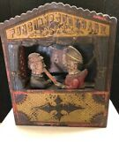 Antique Vintage Punch And Judy Mechanical Cast Iron Bank Shepard Hardware 1884