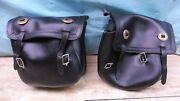 Aftermarket Universal Throw-over Leather Motorcycle Saddlebags Bags Pair Pl249+