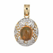 Mexican Fire Opal Diamond Pendant Vintage 14k Yellow Gold Small Oval Jewelry