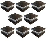 8 Pack 5x5 6x6 Solar Power Plastic Brown 5 Led Fence Post Cap Pathway Light