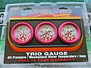 Super Pro 2 Mechanical Triple Gauge Kit White/flames Red Anodized Bezel 5077